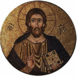 Christ Pantocrator Religious Mosaic Standing Photo Sculpture