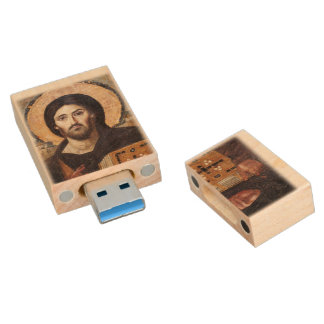Christ Pantocrator Wood Flash Drive