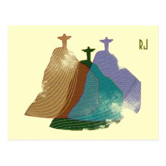 Christ redeemer digital illustration postcard