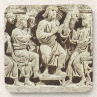 Christ seated and teaching surrounded by the Apost Beverage Coaster
