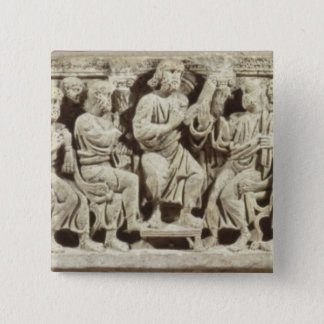 Christ seated and teaching surrounded by the Apost Pinback Button