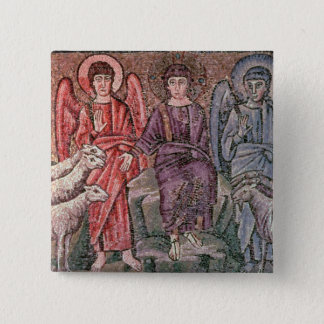 Christ Separates the Sheep from the Goats, 6th cen Pinback Button