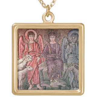 Christ Separates the Sheep from the Goats, 6th cen Square Pendant Necklace
