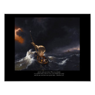 Christ stilling the storm - Old Master print
