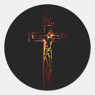 Christ sur croix Black Edition Classic Round Sticker