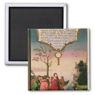 Christ teaching his disciples 2 inch square magnet