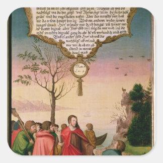 Christ teaching his disciples square sticker