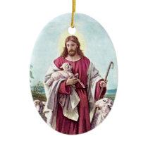 Christ The Good Shepherd Bernard Plockhorst 1878 Ceramic Ornament