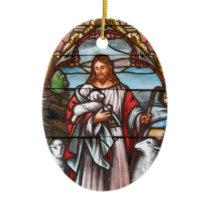 Christ The Good Shepherd by Bernard Plockhorst Ceramic Ornament