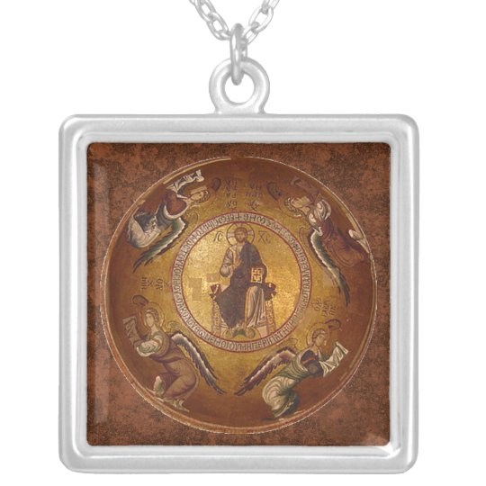 Christ the Pantakrator Christian Icon Silver Plated Necklace