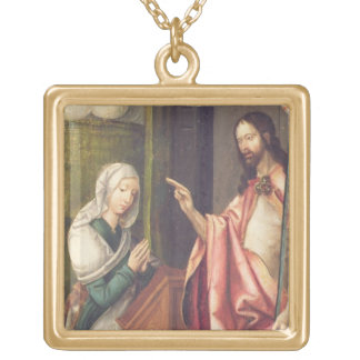 Christ the Redeemer blessing a woman (panel) Square Pendant Necklace