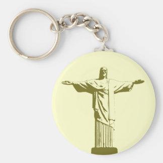 Christ the Redeemer . Rio de Janeiro Basic Round Button Keychain