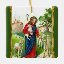 Christ The Shepherd Ceramic Ornament