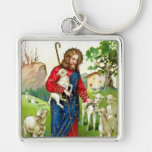 Christ The Shepherd Silver-Colored Square Keychain
