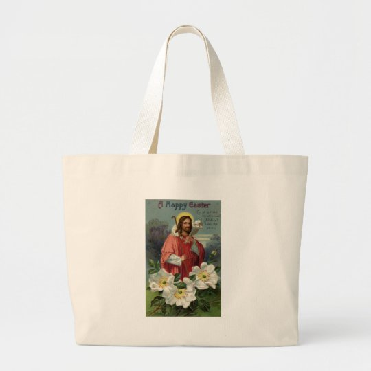 Christ the Shepherd with Lamb Vintage Easter Large Tote Bag