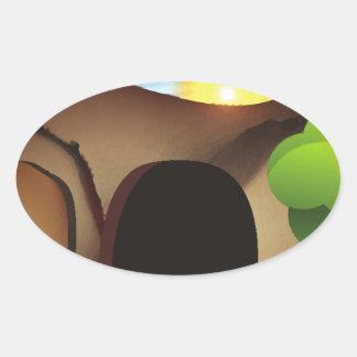 christ tomb oval sticker