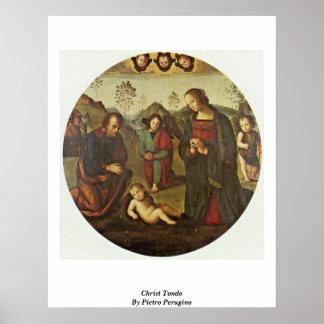 Christ Tondo By Pietro Perugino Poster