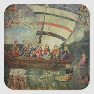 Christ walking on the water, after the 'Navicella' Square Sticker