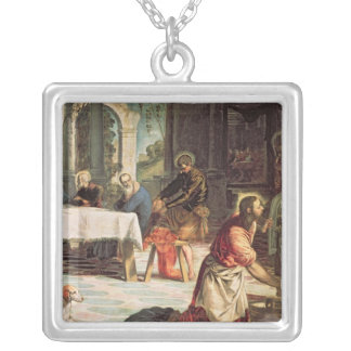 Christ Washing the Feet of the Disciples 2 Silver Plated Necklace
