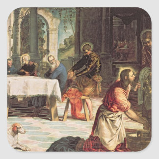 Christ Washing the Feet of the Disciples 2 Square Sticker