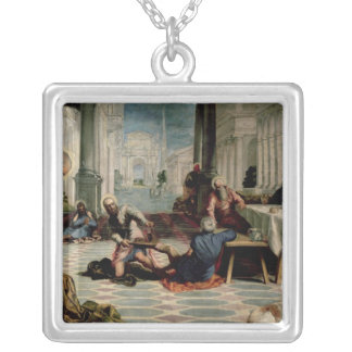 Christ Washing the Feet of the Disciples Silver Plated Necklace