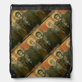 Christ with Abbot Coptic Abbey Icon Cinch Bags