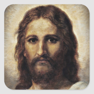 Christ with Compassionate Eyes Square Sticker