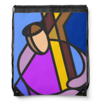 Christ With Cross Abstract Drawstring Bag