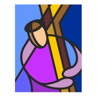 Christ With Cross Abstract Postcard