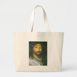 Christ with crown of thorns large tote bag