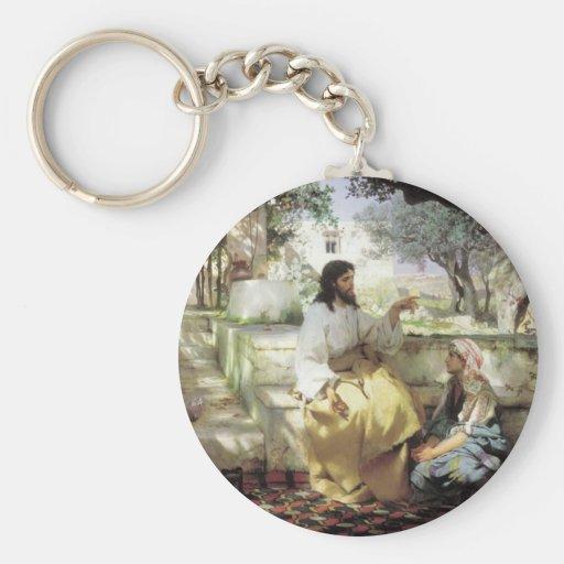 Christ with Martha and Maria circa 1886 Key Chain