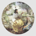 Christ with Martha and Maria circa 1886 Round Stickers
