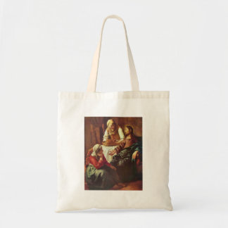 Christ with Mary and Martha by Johannes Vermeer Tote Bags