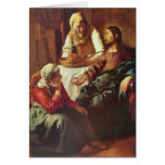 Christ with Mary and Martha by Johannes Vermeer Greeting Cards