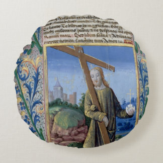 Christ with the Cross and the orb Round Pillow