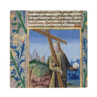 Christ with the Cross and the orb Maple Wood Coaster