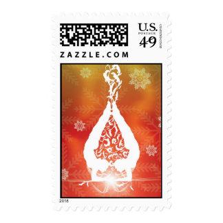 Christamas Yoga Postage Stamp
