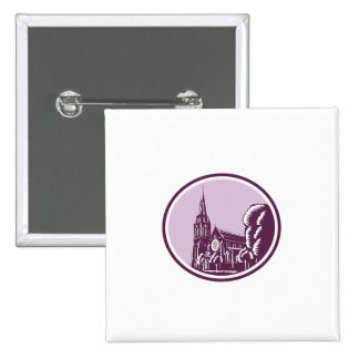 Christchurch Cathedral Woodcut Retro 2 Inch Square Button