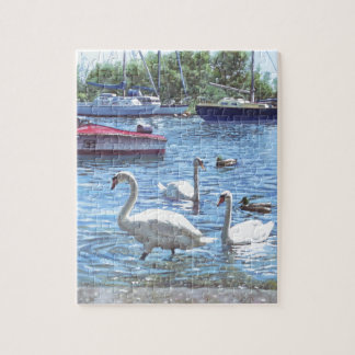 christchurch harbour swans and boats jigsaw puzzle