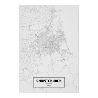 Christchurch, New Zealand (black on white) Poster