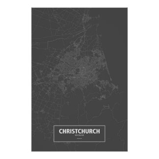 Christchurch, New Zealand (white on black) Poster