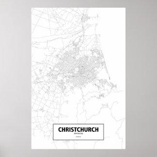 Christchurch, Nueva Zelanda (negro en blanco) Impresiones