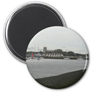 Christchurch Priory from Stanpit Marsh 2 Inch Round Magnet