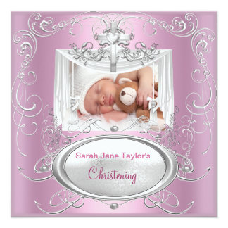 Christening Baptism Baby Girl Silver Pink Cross Card