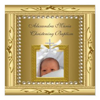 Christening Baptism Gold Photo Frame Bow Card