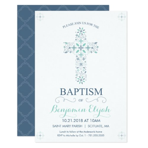 Christening Baptism Invitation _ Baby Boy Invite