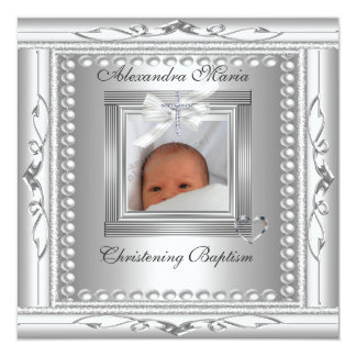 Christening Baptism Silver Photo Frame Bow Card