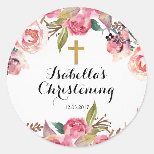 Christening Baptism Sticker _ Gold cross