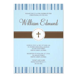 "Christening Blue Stripe Invitation - Boy 5"" X 7"" Invitation Card"