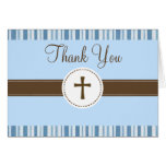 Christening Blue Stripe Thank You Card